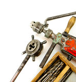 Vintage working tools ( drill and more) on white Royalty Free Stock Photos