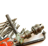 Vintage working tools ( drill and more) on white Royalty Free Stock Image