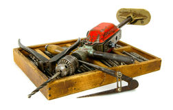 Vintage working tools ( drill, old box and others Stock Photos