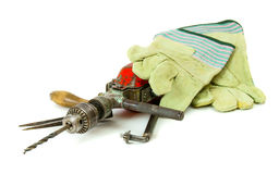 Vintage working tools ( drill, old box and others Royalty Free Stock Image