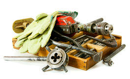 Vintage working tools ( drill, old box and others Stock Images