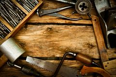 Vintage working tools (drill, saw, ruler and Stock Image
