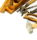 Vintage working tools ( hammer, saw and others) on Stock Images