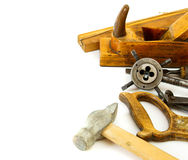 Vintage working tools ( hammer, saw and others) on Stock Photography