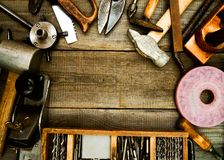 Free Vintage Working Tools On Wooden Background Stock Image - 52038091