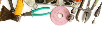 Vintage working tools ( scissors, pliers and Stock Photo