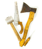 Vintage working tools on white background. Old working tools. Vintage working tools on white background Stock Photo