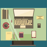Vintage workplace. Vintage interior, workplace, in a flat design Royalty Free Stock Image