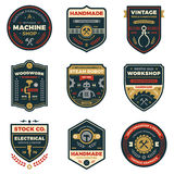 Vintage workshop badges. Set of retro vintage workshop badges and label graphics Stock Image