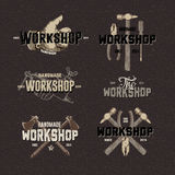 Vintage Workshop conceptual labels. Elements and badges with retro styled design, vector Eps10 image Stock Images