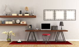 Vintage workspace with contemporary laptop Royalty Free Stock Photos