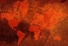 Vintage world-map Stock Photography