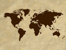 Vintage world map. Illustration of the world map on parchment  background Stock Image