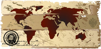 Vintage world map. Futuristic background vector with world map designed old papper Stock Image