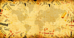 Vintage world map. 2D art Stock Photos