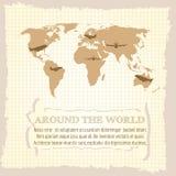 Vintage world map Stock Photography