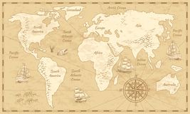 Vintage world map. Ancient world antiquity paper map with continents ocean sea old sailing vector globe background