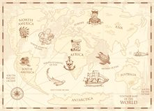Vintage world map with compass and mountains. Sea creatures in the ocean. Aged treasure. marine captain and anchor. Nautical pirates. old retro parchment Stock Photo