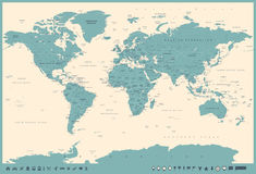 Vintage World Map and Markers - illustration Stock Images