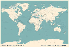 Vintage World Map and Markers - illustration Stock Photos