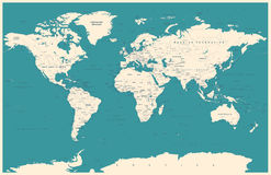 Vintage World Map and Markers - illustration Royalty Free Stock Photo