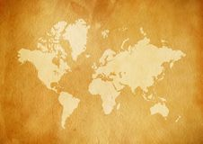 Vintage world map on old parchment paper royalty free stock photos