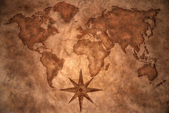 Vintage world map. World map on vintage paper background Royalty Free Stock Photos