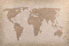 Vintage world map paper craft. Vintage world map on paper craft (map from NASA Royalty Free Stock Image