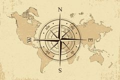 Vintage world map with retro compass. Background old paper map and wind rose. Vector. vector illustration