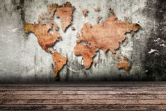 Vintage world map with vintage wood texture. Stock Photos