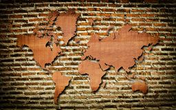 Vintage world map with vintage wood texture. Stock Image