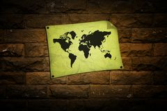 Vintage world map on wall Royalty Free Stock Images