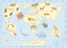 Vintage world map with wild animals and mountains. Sea creatures in the ocean. Old retro parchment. wildlife on earth. Concept. background or poster for kids Royalty Free Stock Images