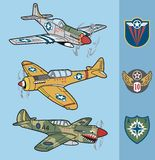 Vintage world war II fighter planes set 1 Stock Image