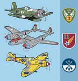 Vintage world war II fighter planes set 2 Royalty Free Stock Image