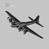 Vintage world war 2 legendary heavy bomber. Old retro piston engine propelled heavy aircraft. Vector illustration Royalty Free Stock Image
