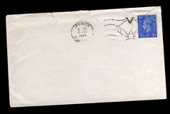 Vintage World War Two envelope. With a George VI Great Britain postage stamp, victory postmark   and address removed for copy space Stock Images