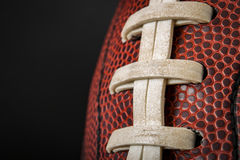 Vintage worn american football ball with visible laces, stitches and pigskin pattern. Macro of a vintage worn american football ball with visible laces, stitches royalty free stock images