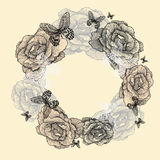 Vintage wreath of roses, butterflies, hand-drawing Royalty Free Stock Photo