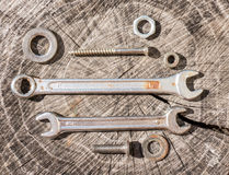 Vintage wrench set Royalty Free Stock Photography