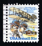 Vintage Wright Brothers Postage Stamp. Vintage Orville & Wilbur Wright USA 31c airmail postage stamp SG.1736 Stock Photo