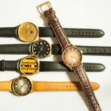 Vintage wrist watches on white background. Many vintage wrist watches on white background Stock Photography