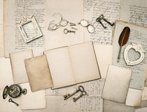 Vintage writing accessories, old letters and frames Royalty Free Stock Images