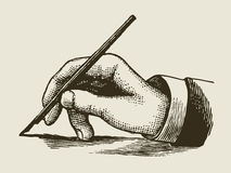 Vintage writing hand. Engraved style stock illustration