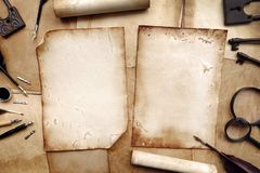 Vintage writing set with old paper royalty free stock photos