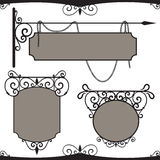 Vintage wrought iron signs. Stock Photo