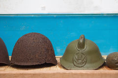 Vintage WWII Army Helmet in military soviet bunker Royalty Free Stock Photo