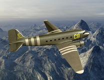 Vintage WWII Cargo Airplane Illustration. Illustration of a vintage World War II cargo airplane. The WWII aircraft is flying over the hump or a mountain range Stock Image