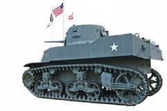 Vintage WWII US Army Tank Isolated. M3A1 light tank used by the US Army in World War II - isolated royalty free stock photos