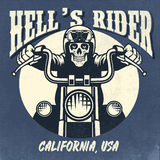Vintage y diseño oxidado de cráneo que montan una motocicleta libre illustration
